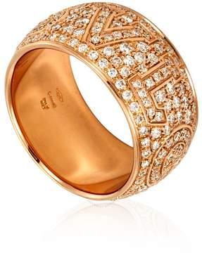 Bvlgari Monologo 18K Rose Gold Diamond Pave Ring- Size 53 (US 6 1/2)