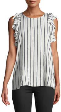 T Tahari Kelby Shimmer-Striped Flutter-Sleeve Blouse