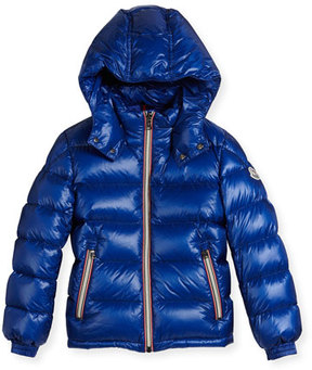 Moncler New Gaston Web-Trim Quilted Down Coat, Size 8-14