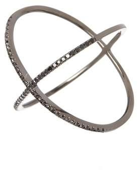 Ef Collection 14K Black Rhodium Pave Black Diamond X Ring - Size 8 - 0.19 ctw