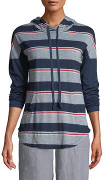 Allen Allen Striped Lightweight Drawstring Hoodie