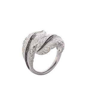 Michael Aram Sterling Silver Feather Bypass Ring with Diamonds