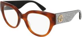 Gucci Eyeglasses GG 0103 O- 004 AVANA / SILVER