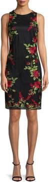 Donna Ricco Women's Embroidered Rose Sheath Dress