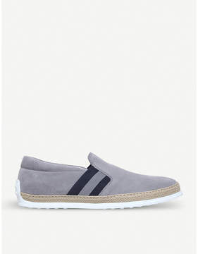 Tod's Tods Rafia stripe suede skate shoes