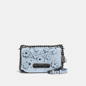 COACH SWAGGER SHOULDER BAG 20 IN GLOVETANNED LEATHER WITH TEA ROSE TOOLING - DARK GUNMETAL/PALE BLUE