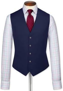 Charles Tyrwhitt Royal Blue Adjustable Fit Twill Business Suit Wool Vest Size w36