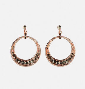 Avenue Rhinestone Hoop Drop Earrings