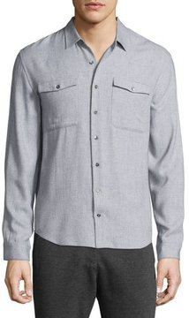 ATM Anthony Thomas Melillo Utility-Pocket Long-Sleeve Shirt, Light Gray