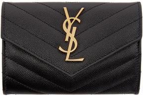 Saint Laurent Black Small Monogram Envelope Wallet - BLACK - STYLE