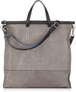 Jimmy Choo GABRIEL Iron Grey Croc Embossed Satin leather Tote Bag
