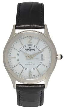 Croton Men's Stainless Steel Watch with Black Leather Band