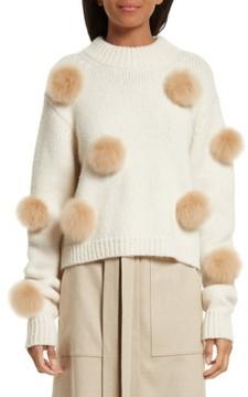 Tibi Women's Genuine Alpaca Fur Trim Pompom Sweater