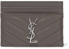 Saint Laurent Quilted Textured-leather Cardholder - Gray - GRAY - STYLE