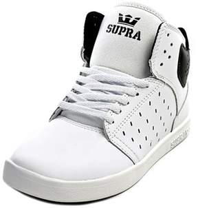 Supra Kids Atom Youth Round Toe Leather White Sneakers.
