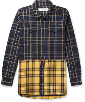 Off-White Embroidered Checked Cotton-Blend Twill Overshirt