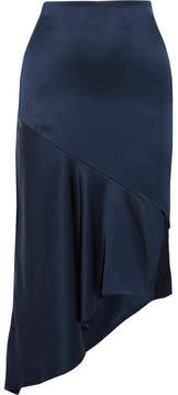 Cushnie et Ochs Cara Asymmetric Silk-satin Midi Skirt - Midnight blue