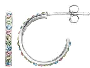 Swarovski Charming Girl Sterling Silver Crystal Hoop Earrings - Made with Crystals - Kids