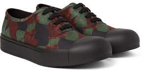 Prada Rubber Cap-Toe Printed Gabardine Sneakers