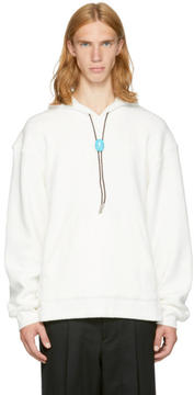 Alexander Wang Off-White Fleece Classic Black Bolo Tie Hoodie