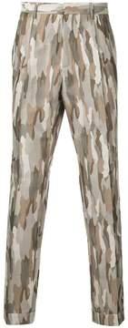 Cerruti camouflage jacquard trousers