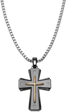 Triton Axl By AXL by Diamond Accent Stainless Steel Tri-Tone Cross Pendant Necklace - Men