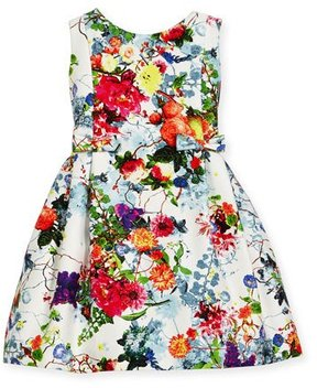 Helena Sleeveless Pleated Floral Dress, Size 4-6