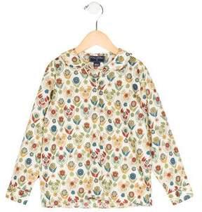 Oscar de la Renta Girls' Printed Button-Up Top