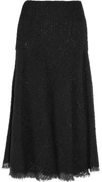 Alexander McQueen Metallic Bouclé-tweed Midi Skirt - Black