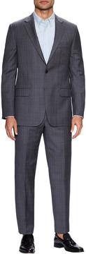 Hickey Freeman Men's Wool Glen Plaid Notch Lapel Suit