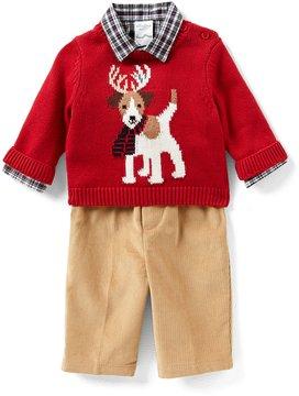 Starting Out Baby Boys 3-24 Months Christmas Reindeer Dog Sweater, Shirt, & Pants 3-Piece Set