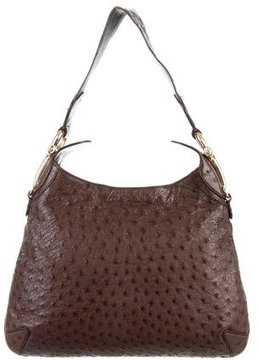 Gucci Ostrich Creole Hobo - BROWN - STYLE