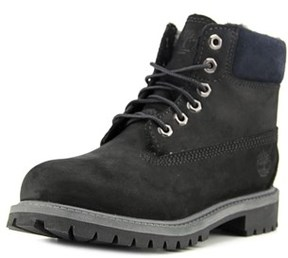 Timberland 6 In Prem Youth Round Toe Leather Black Work Boot.