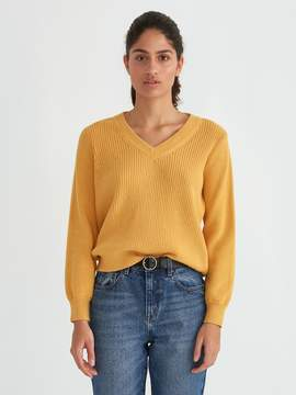 Frank and Oak Off-Shoulder Cotton V-Neck Sweater in Mustard