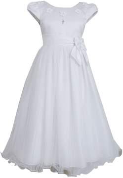 Bonnie Jean Girls 7-16 Satin Dress With Cross Charm
