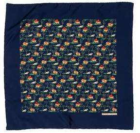 Hermes Silk Abstract Print Pocket Square