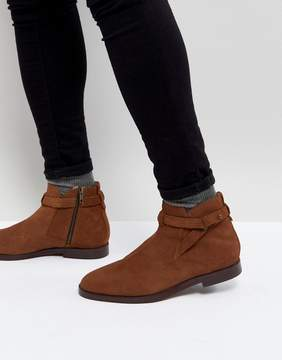 H By Hudson Cutler Suede Chelsea Boots In Tan