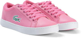 Lacoste Pink and White Straightset Lace Junior Trainers
