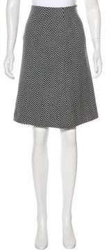 Celine Herringbone Wool Knee-length Skirt