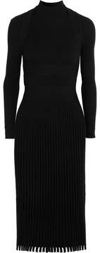Cédric Charlier Ribbed Stretch-knit Dress - Black