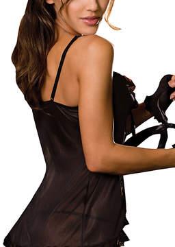 Dreamgirl Black Sheer Lace-Trim Babydoll & Open-Gusset Thong Set - Women