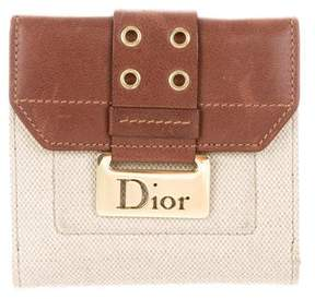 Christian Dior Leather-Trimmed Compact Wallet
