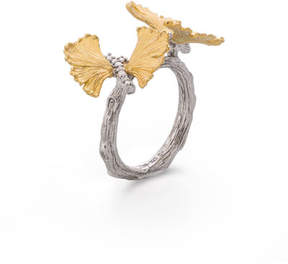 Michael Aram Double Butterfly Gingko 18K & Sterling Silver Ring with Diamonds