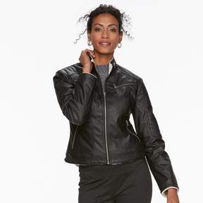 Chaps Women's Faux-Leather Jacket