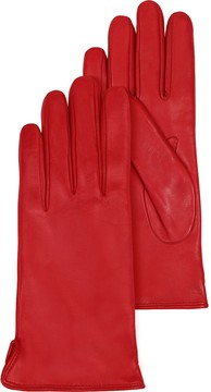 Forzieri Red Leather Women's Gloves w/Cashmere Lining