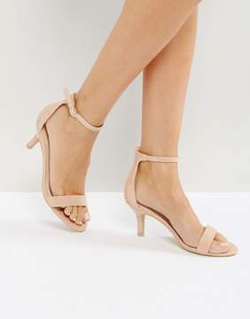 Glamorous Nude Barely There Kitten Heeled Sandals