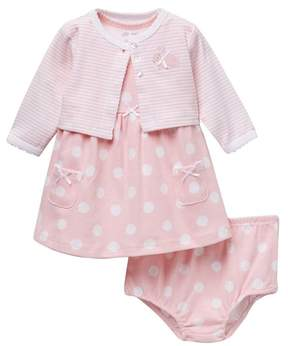 Little Me Big Dots Dress with Cardigan (Baby Girls)