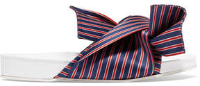 No.21 No. 21 - Knotted Striped Satin Slides - Blue