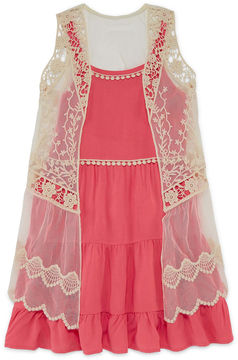 Knitworks Knit Works Tiered Dress with Lace Vest - Girls' 7-16