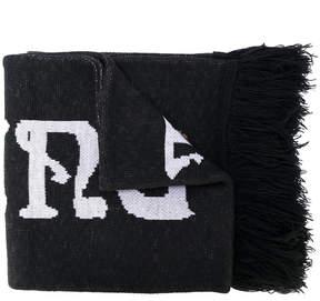 Off-White intarsia-knit scarf
